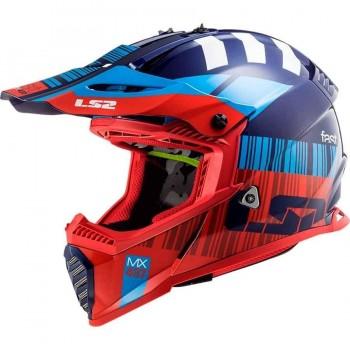 CASCO LS2 MX437 FAST EVO XCODE GLOSS RED BLUE