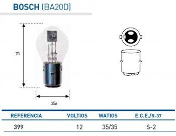 BOMBILLA LAMPARA AMOLUX 12V 35 / 35 W BOSCH 399