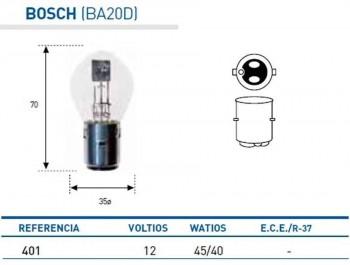 BOMBILLA LAMPARA AMOLUX 12V 45 / 40 W BOSCH 401