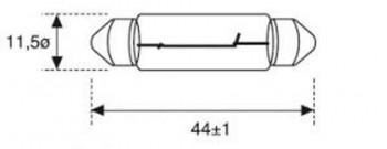 BOMBILLA LAMPARA AMOLUX 12V /10W PLAFONIER 164A  11X40 SV8.5
