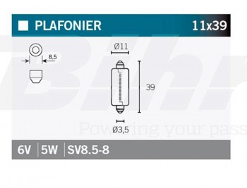 BOMBILLA LAMPARA V-PARTS (CAJA 10 UNIDADES)  SV8.5-8 6V5W    14623