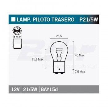 BOMBILLA LAMPARA V-PARTS (CAJA 10 UNIDADES)  BILUX 12V 21/5W    14661