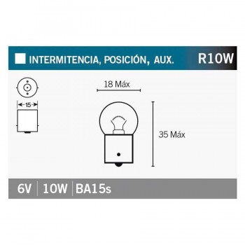 BOMBILLA LAMPARA V-PARTS (CAJA 10 UNIDADES)  BILUX 6V10W    14664