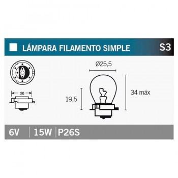 BOMBILLA LAMPARA V-PARTS 6V15W P26S VICMA
