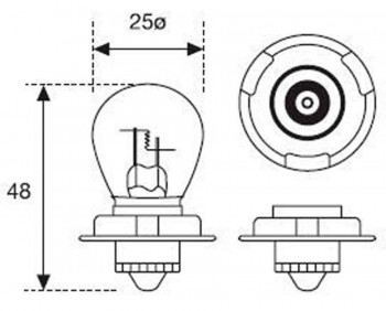 BOMBILLA LAMPARA AMOLUX 12V / 15W 275 P 26 S SCOOTER