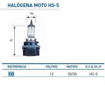 BOMBILLA LAMPARA AMOLUX 12v35/30w HS5 HALOGENA PCX 112