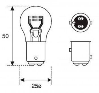 BOMBILLA LAMPARA AMOLUX 12V / 10 / 5W PILOTO BAY15D 148 S25