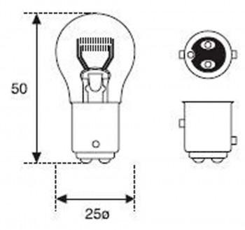 BOMBILLA LAMPARA AMOLUX 12V / 21 / 5W PILOTO 91