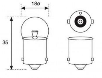 BOMBILLA LAMPARA AMOLUX 12V / 10W PILOTO BAYONETA 130A AMBAR