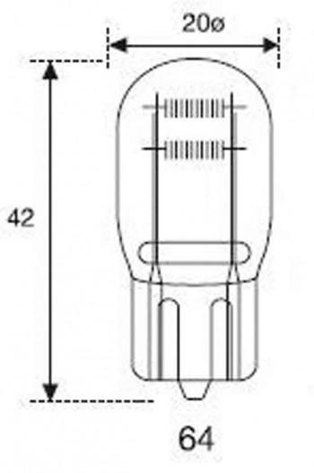 BOMBILLA LAMPARA AMOLUX 12 V / 21 /5W CUÑA GIGANTE 64