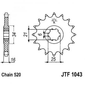 PIÑON JT 1043K 14T  520