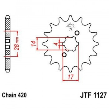 PIÑON JT 1127K 14T  420