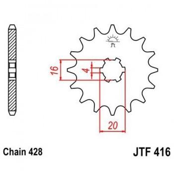 PIÑON JT 416 13T 428