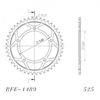 PLATO CORONA SUPERSPROX KAWASAKI 525 RFE1489-41BLK